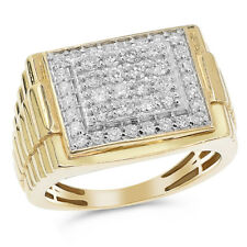 Heavy Wide 14K Yellow Gold Pave Round Diamond Mens Right Hand Ring