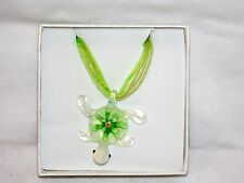 New Glass Sea Turtle Green Flower & Decorative Hanging Ribbon Car Ornament Charm