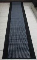NEW GREY/BLACK RUBBER BACK HALL HALLWAY RUNNER FLOOR RUG 67X300CM