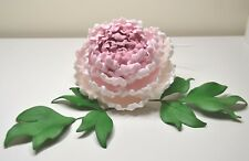 Dusyk pink ombre close sugar peony and leaves  handmade wedding cake decoration