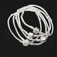 2/5/10/20PCS Silver Snake Chain Bracelet Fit European Charm Beads Fashion Gifts