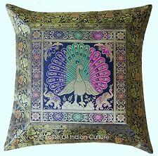 "Decorative 17"" Blue Peacock Pillow Cushion Cover Indian Silk Brocade Sofa Throw"