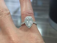1.60ct Natural Pear Halo Pave Diamond Engagement Ring - GIA Certified