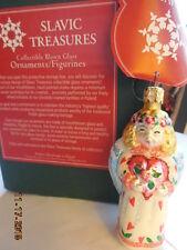 "Heart Angel 3.5"" Nib Tiny Blonde Girl Slavic Treasures Blown Glass Ornament"