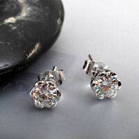 2.00Ct Round Cut  Moissanite  Solitaire Stud Earrings 14K White Gold Finish