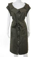 Escada Dark Green Cotton Button Down Short Sleeve Shirt Dress Size European 46