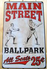Main Street Ball Park TIN SIGN metal poster vtg sports bar garage baseball decor