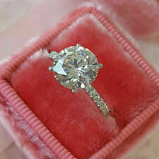 Moissanite Engagement Ring 14K White Gold 2.80 Ct Vvs1 Round Near White