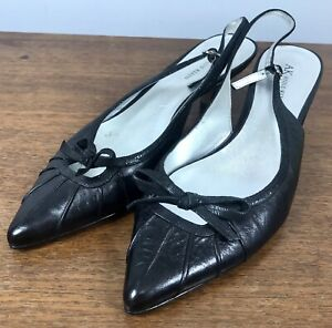 AK Anne Klein Black Leather Pointed Low Heel Shoes Bow Slingback Size 10M