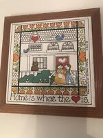 Vintage 1982 Susan McChesney Original Ceramic Tile Home is Where the Heart Is