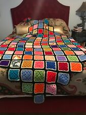 Large Vibrant Multi Colored 4 pointed Hand Crocheted Vintage Blanket- 87 x 87 In