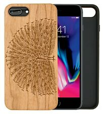 iPhone Samsung Huawei Pixel Real Wooden Phone Case Engraved Peacock Feathers