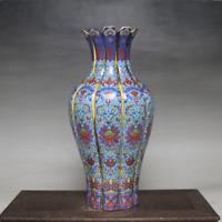 "9.3"" China Porcelain Colour Enamels Draw Gold Pretty Flower Mouth Ornament Vase"