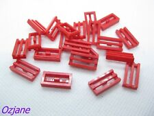 LEGO PART 2412b RED TILE MODIFIED 1 X 2 GRILLE BOTTOM LIP 20 PIECES