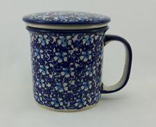 Bunzlauer Keramik Teetasse mit Sieb,  Becher, Blümchen - 0,3 Liter, (K073-J109)