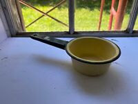 Vintage ORIGINAL Yellow Enamelware Porcelain Sauce Pan with Black Trim & Handle