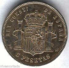 Alfonso XIII 5 Pesetas 1893 * 93 PGL @ EXCELENTE @
