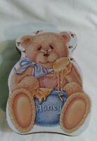 Teddy Bear Shaped Empty Metal Tin Container Collectable With Honey Bees