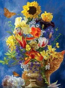 Garden of Gold 1000 Pc Jigsaw Puzzle Nene Thomas Sunsout cat flower butterfly