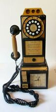 Spirit of St Louis Wood Pay Telephone FAUX 1956 Phone & Clock WORKS TESTED