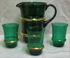 Green Retro Art Glassware Date-Lined Glass