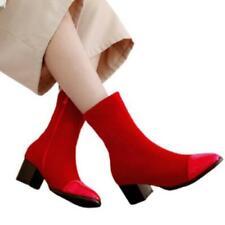 Женские умные толстые низкий каблук квадратный носок сзади молния повседневные лодыжки ботинки 44/48 D