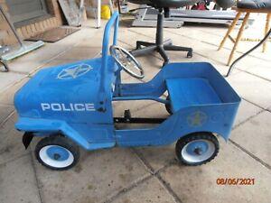 OLD METAL KIDS PEDAL CAR POLICE JEEP