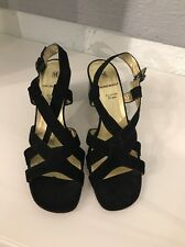 Bruno Magli Slingback Sandals Heels Black Leather Size 8.5  Made In Italy