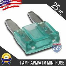 25 Pack 1A Mini Blade Style Fuses APM/ATM 32V Short Circuit Protection Fuse US