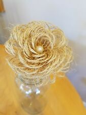 HANDMADE BURLAP FLOWERS with wooden  stems, pearls bouquet Arrangements DIY