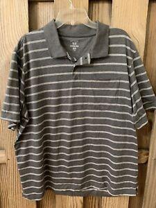 GEORGE Mens Gray Short Sleeve Button Down Polo Shirt 2XL 50 52