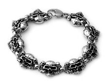 Curb Cuban Skull 316 Stainless Steel Bracelet From Us 9 inch Rocker Biker Gothic