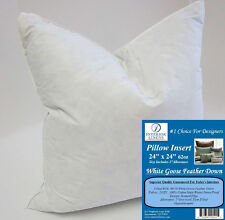 "24"" Pillow Insert: 62oz. White Goose Feather Down - 2"" Oversized & Firm Filled"