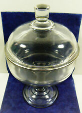 """Vintage Clear Glass Footed Round with Lid piedestal Candy Bowl Dish Vase 10"""""""