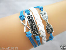 Multi-layer Infinity/BEST FRIEND/Double Owls Charms Leather Braided Bracelet