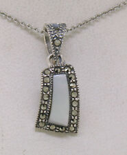 Marcasite Sterling Silver Petite Curved Mother of Pearl Pendant w/ Chain NICE