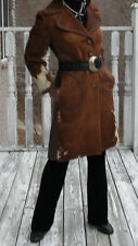 CUstom Paris Full length Leather & brown cream tone Pinto Pony Fur Coat  S 0-6
