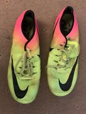 NIKE ZOOM SUPERFLY ELITE size UK 11 pink/ florescent lime SPRINT SPIKES