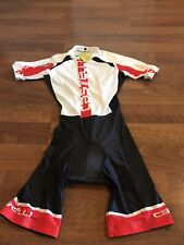 New Castelli Men's Short-Sleeve Time Trial Suit White and Black Size Medium