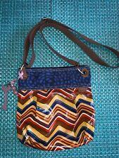 Fossil Vintage Women's Canvas Fabric Colorful Crossbody Striped  Handbag Purse