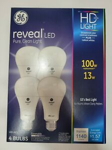 GE Lighting 100w HD+ Reveal LED Light Bulb, A21 Mid Base, 1140 Lumens 4 pack NIB