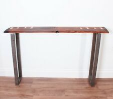 Industrial style console table with reclaimed oak 001