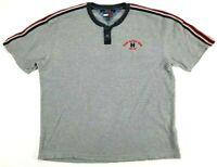 VTG Tommy Hilfiger Short Sleeve Henley Shirt Men's Size XL Striped Sleeve EUC