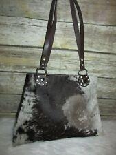 Brown Beige Cow Hide Calf Hair Studded Artisan Leather Purse Shoulder Bag Tote