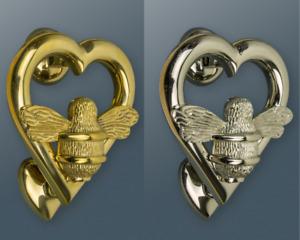Brass Bumble Bee Heart Door Knocker - Brass bee Door Knockers - Nickel & Brass