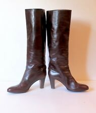 Vintage Bally Burgundy Leather Boots Low Stacked Wood Heel Size 7
