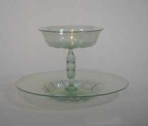 Antique Venetian Salviati Hand Blown Green Coupe Under Plate, Circa 1885