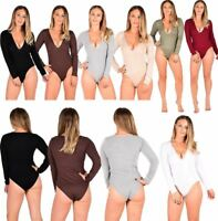 Womens Long Sleeve Stretchy Plain Bodysuit Ladies Plunge Deep V Neck Leotard Top