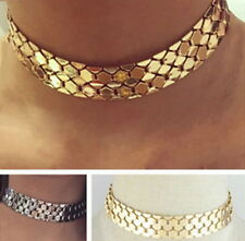 Statement Metal Wide Link Chunky Necklace Tone Chain BOHO Choker Vintage Gold