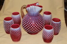 Fenton Hobnail Pitcher and 6 Drinking Glasses Cranberry Opalescent Cups Vintage